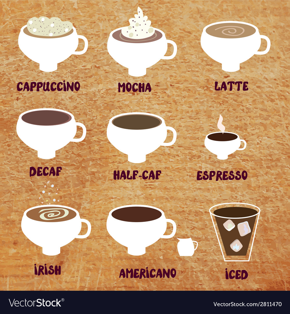 Types of coffee - funny menu vector image