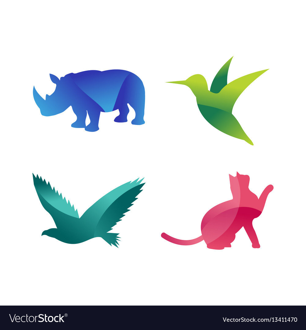 Wild animals jungle pets logo silhouette of