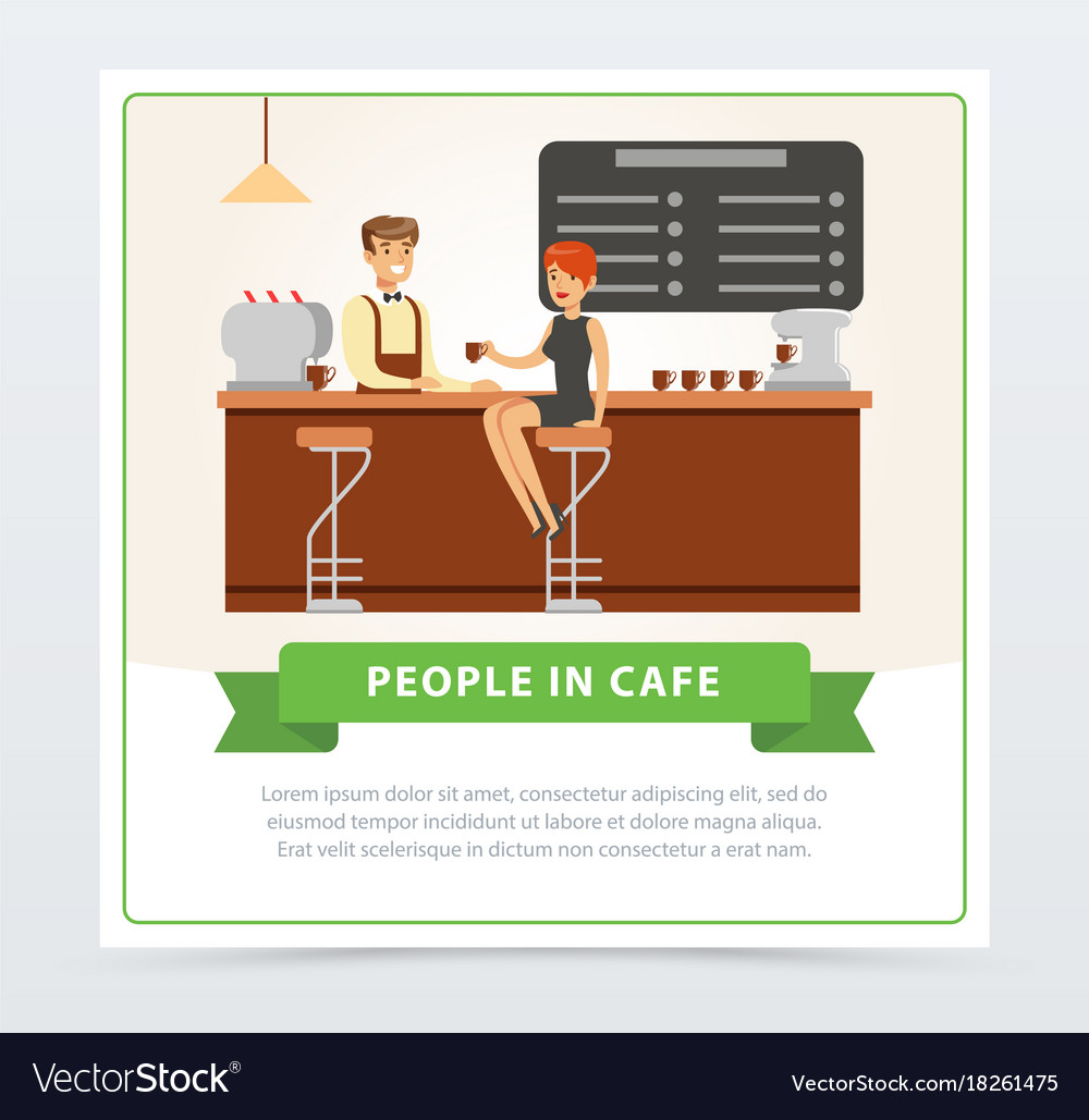 Coffee shop with barrista serving visitor people