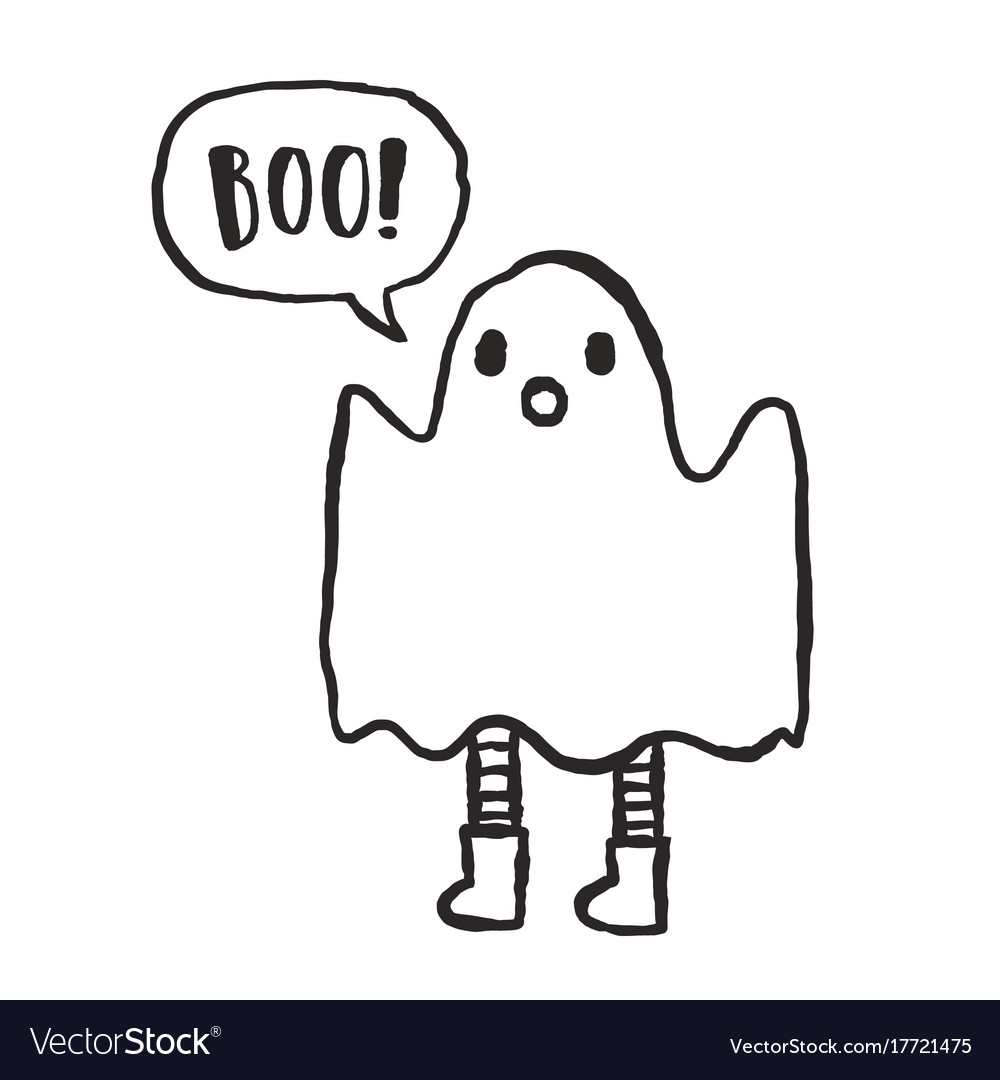 Cute hand drawn funny ghost