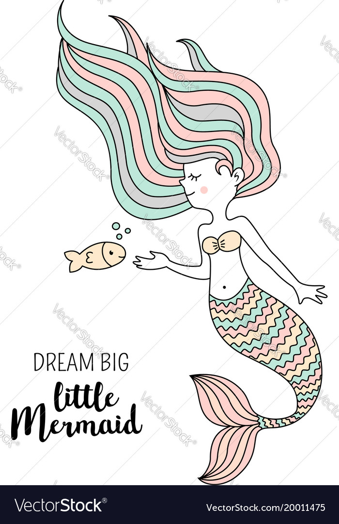 Cute little mermaid with fish under the sea