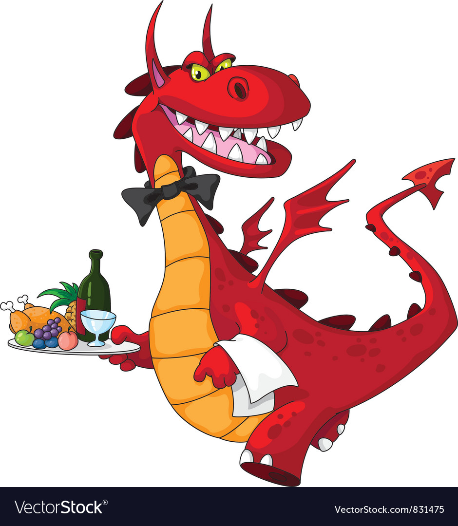 Dragon waiter with food tray