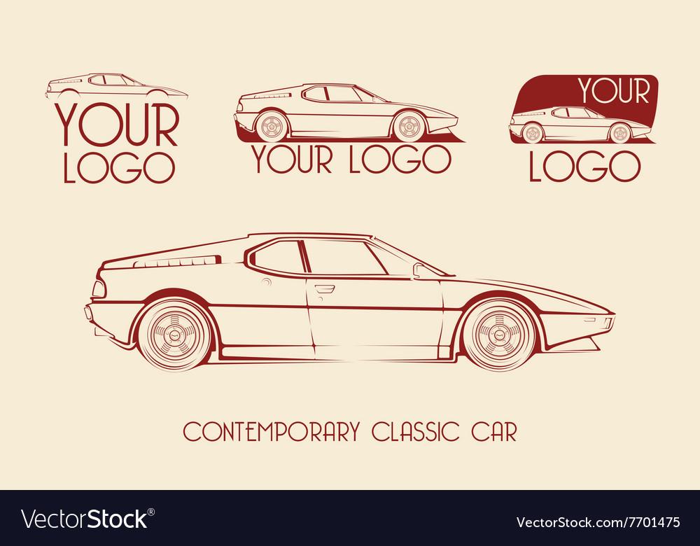 European classic sports car silhouettes logo