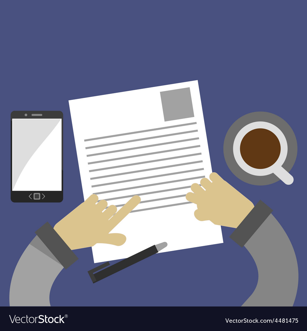 Examining a business contract vector image