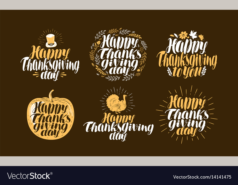 Happy thanksgiving label set holiday logo vector image