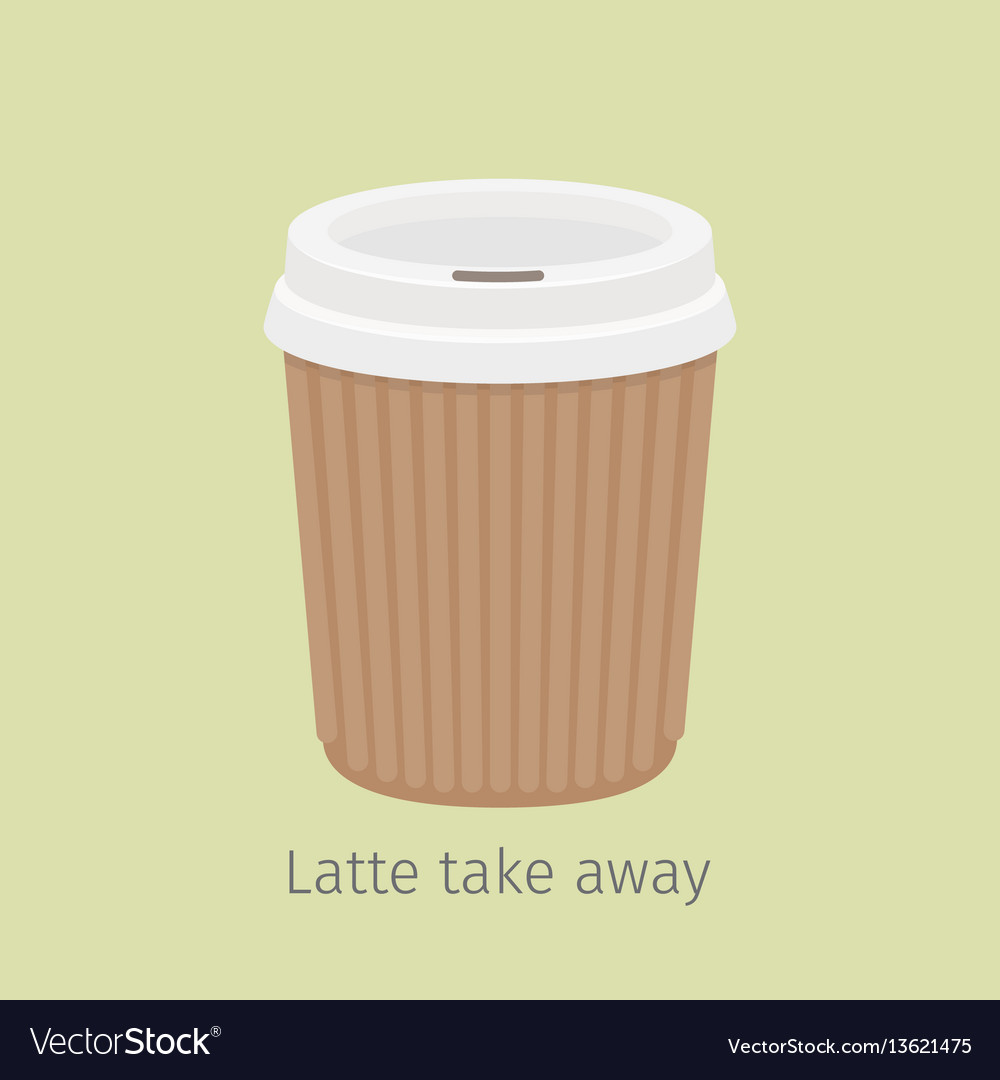 Latte take away coffee in paper cup