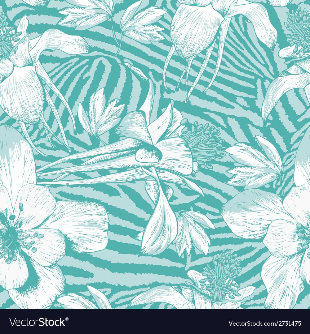 Monochrome seamless vintage flower pattern vector image