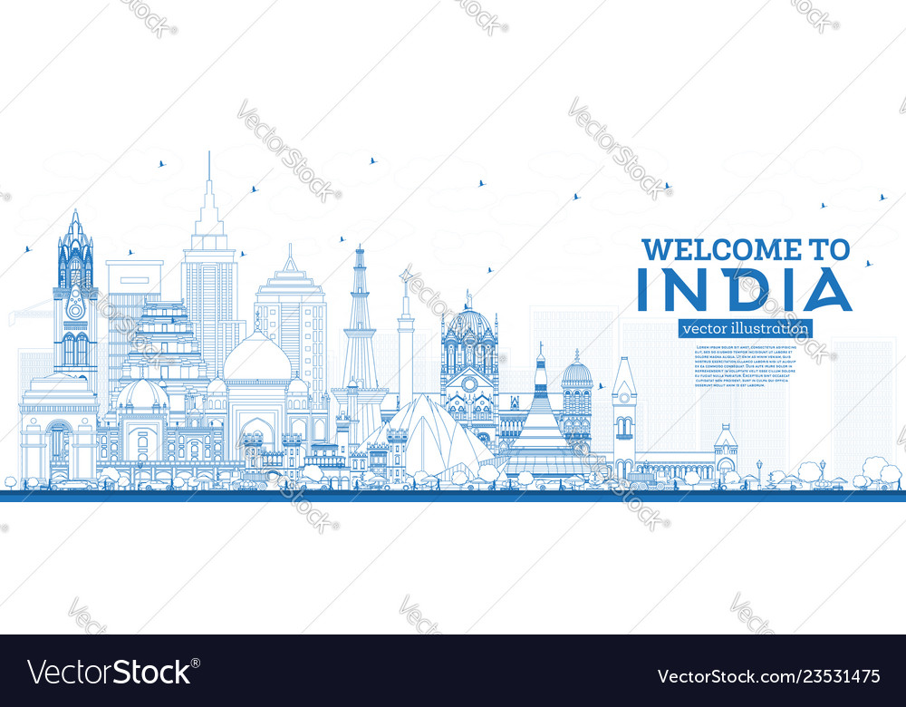 Outline welcome to india city skyline with blue
