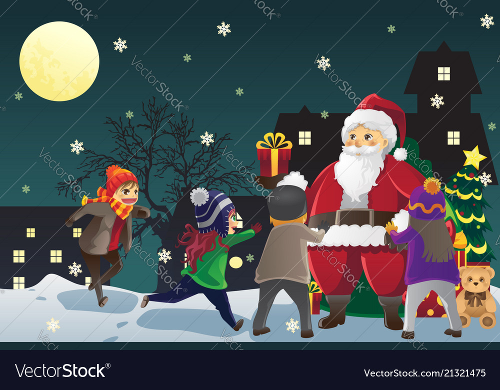 Santa claus giving out christmas presents to kids Vector Image