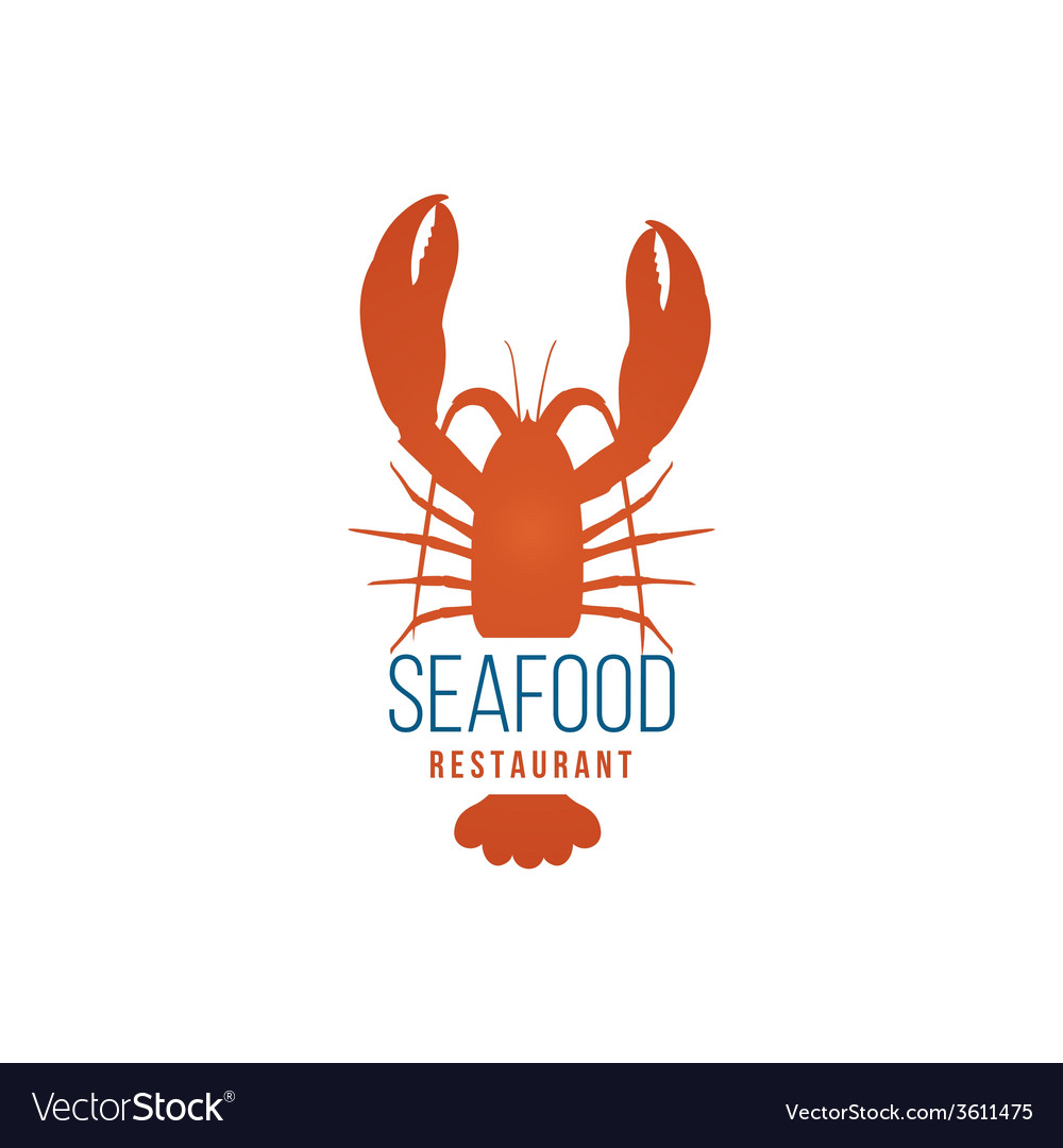 Seafood restaurant logo template with lobster