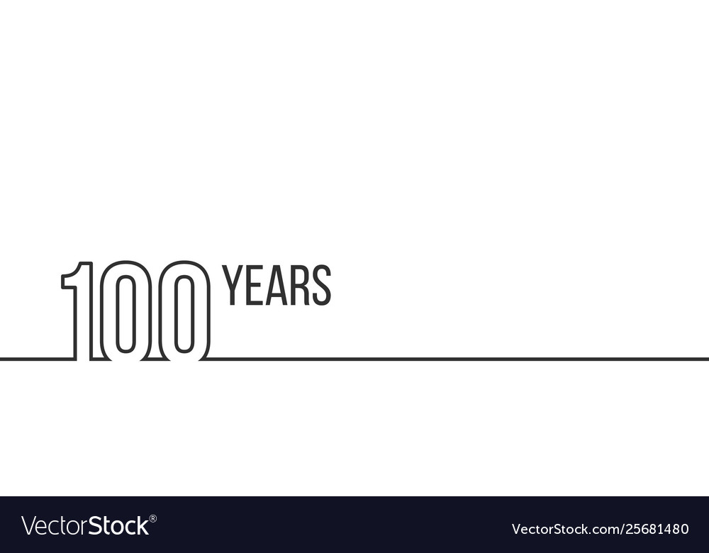 100 years anniversary or birthday linear outline