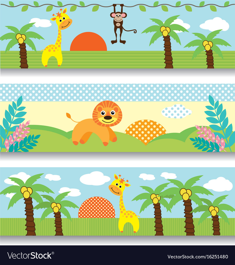 Africa baby clipart giraffe monkey trees clouds vector image
