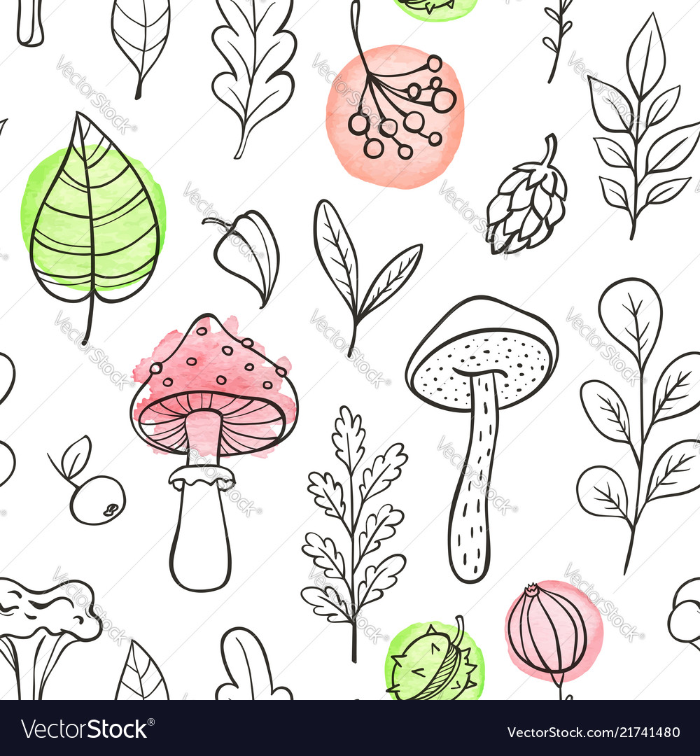 Autumn pattern with mushrooms and leaves