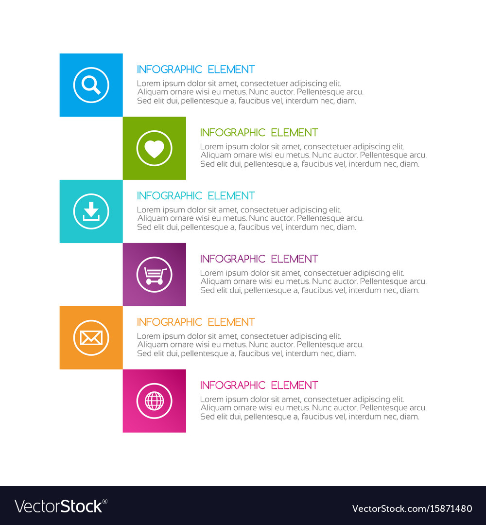 Flat colorful abstract infographic six options