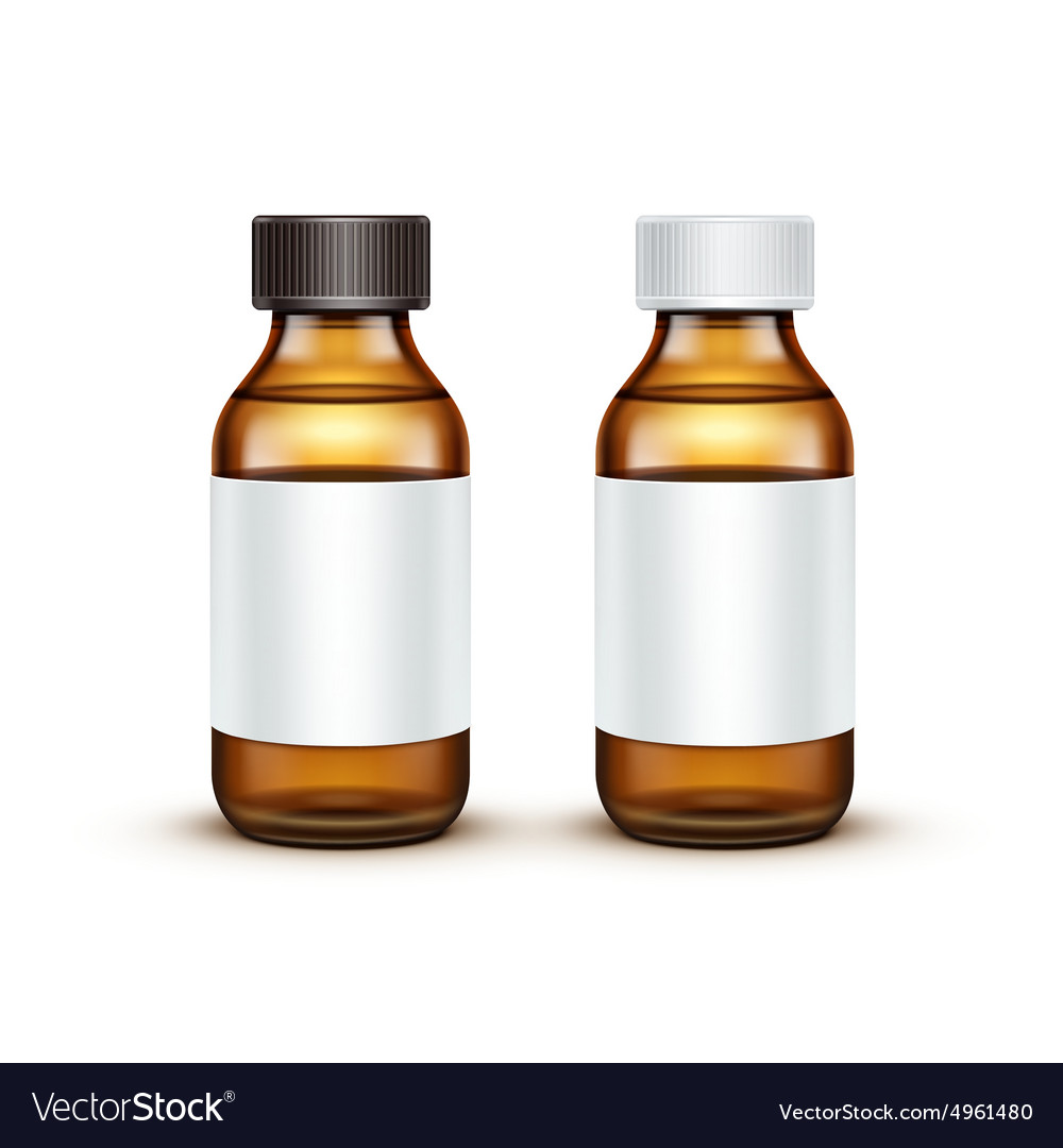 Glass Medical Bottle With Liquid Fluid