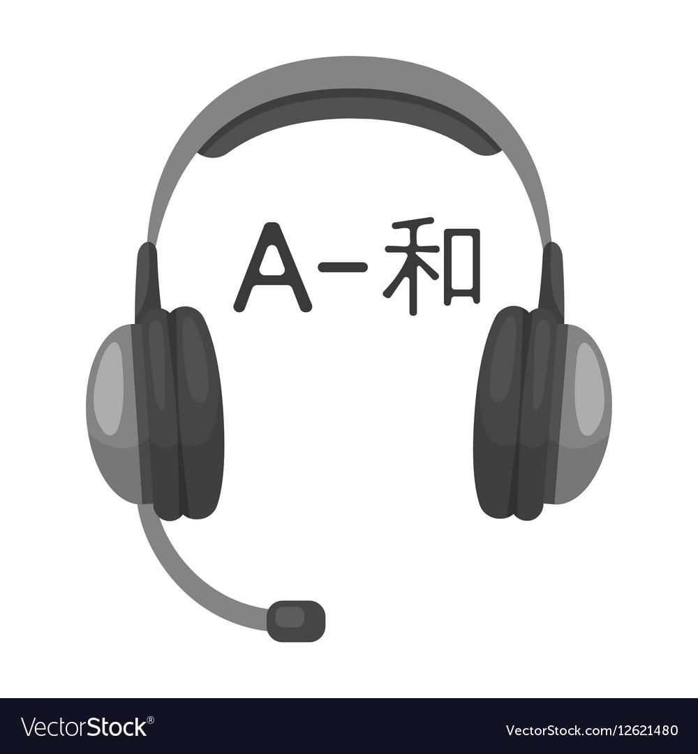 Headphones with translator icon in monochrome vector image