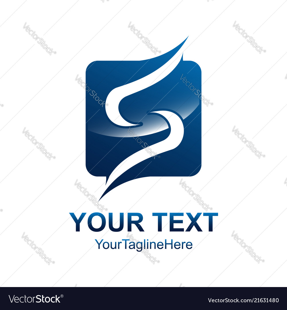 Letter s logo design template colored blue square
