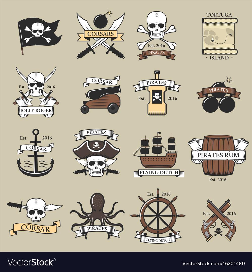 Modern professional pirate logo marine badges