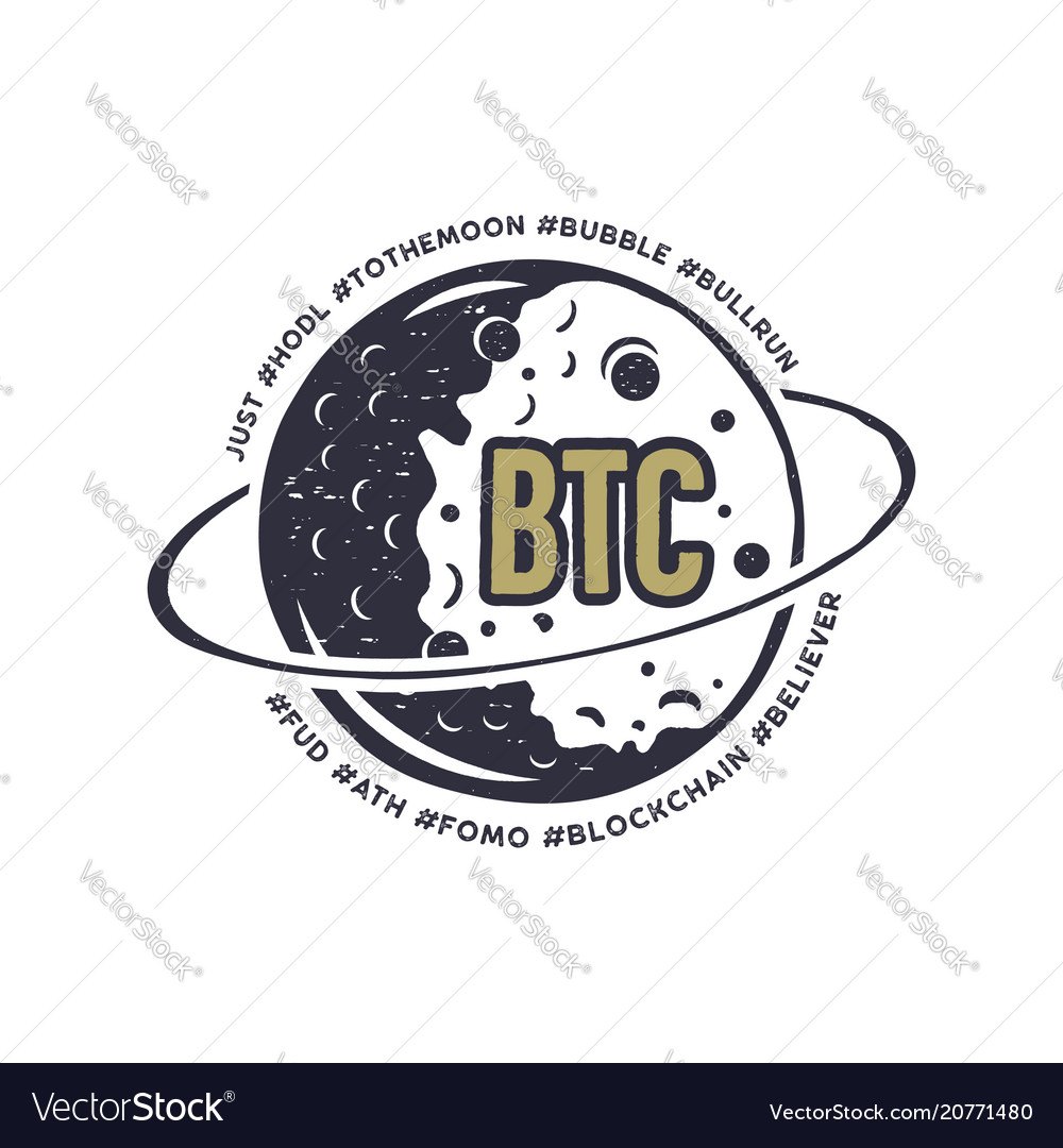 Moon bitcoin emblem with funny hashtags in orbit