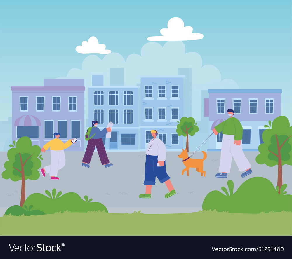 People walking in street city different