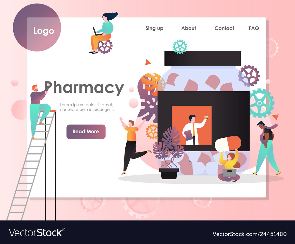 Pharmacy website landing page design