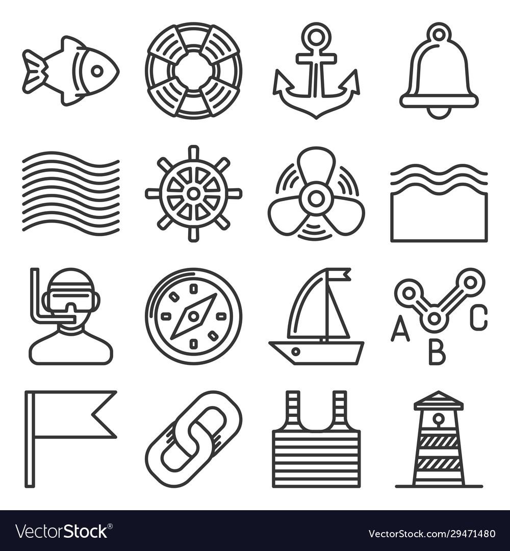 Sea sailing icons set on white background line