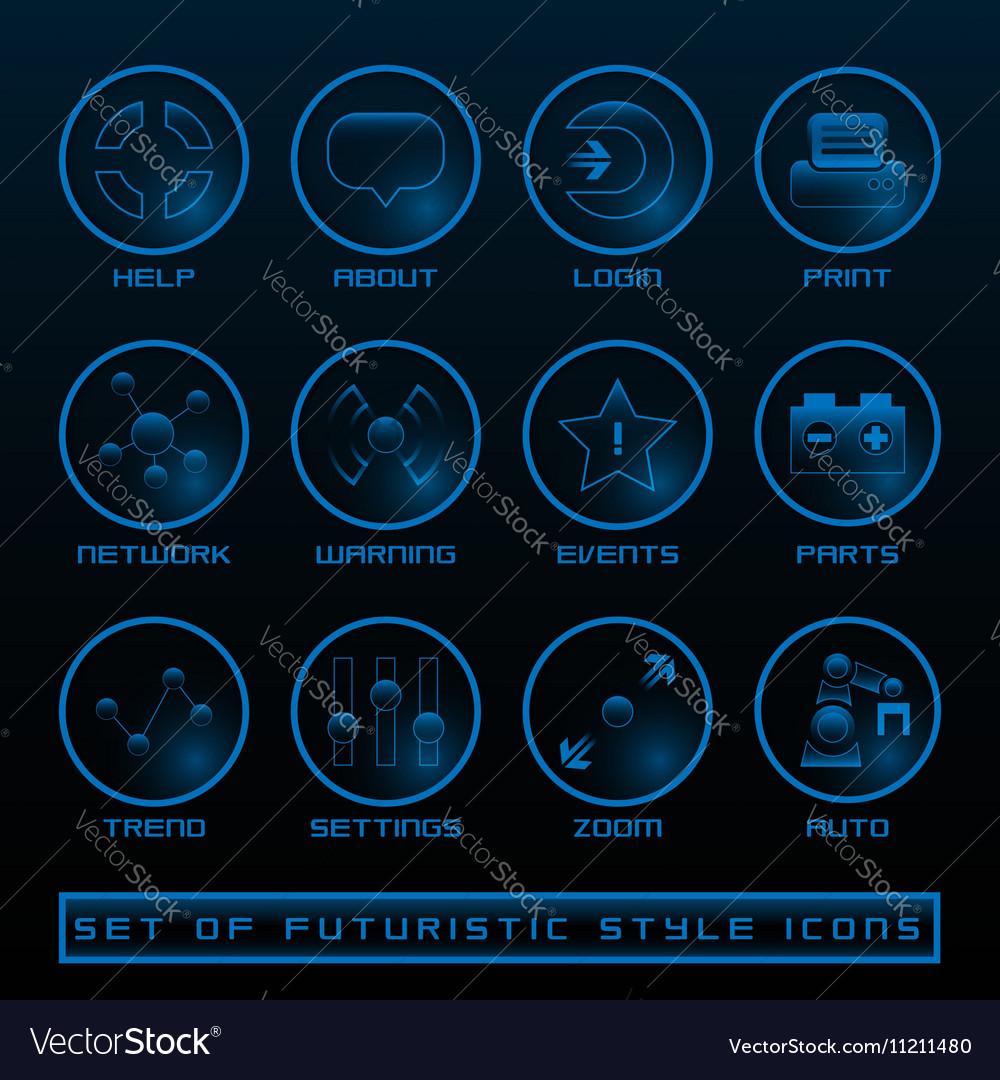 Set of Futuristic User Interface Icons