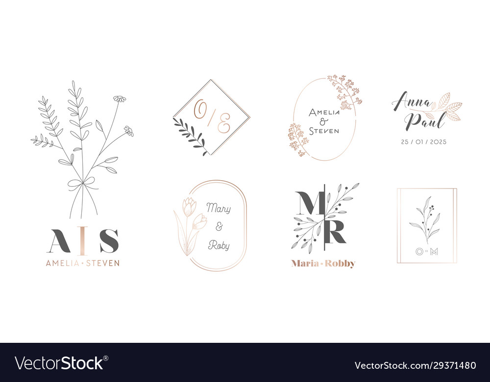 Set wedding monogram with flowers and branches