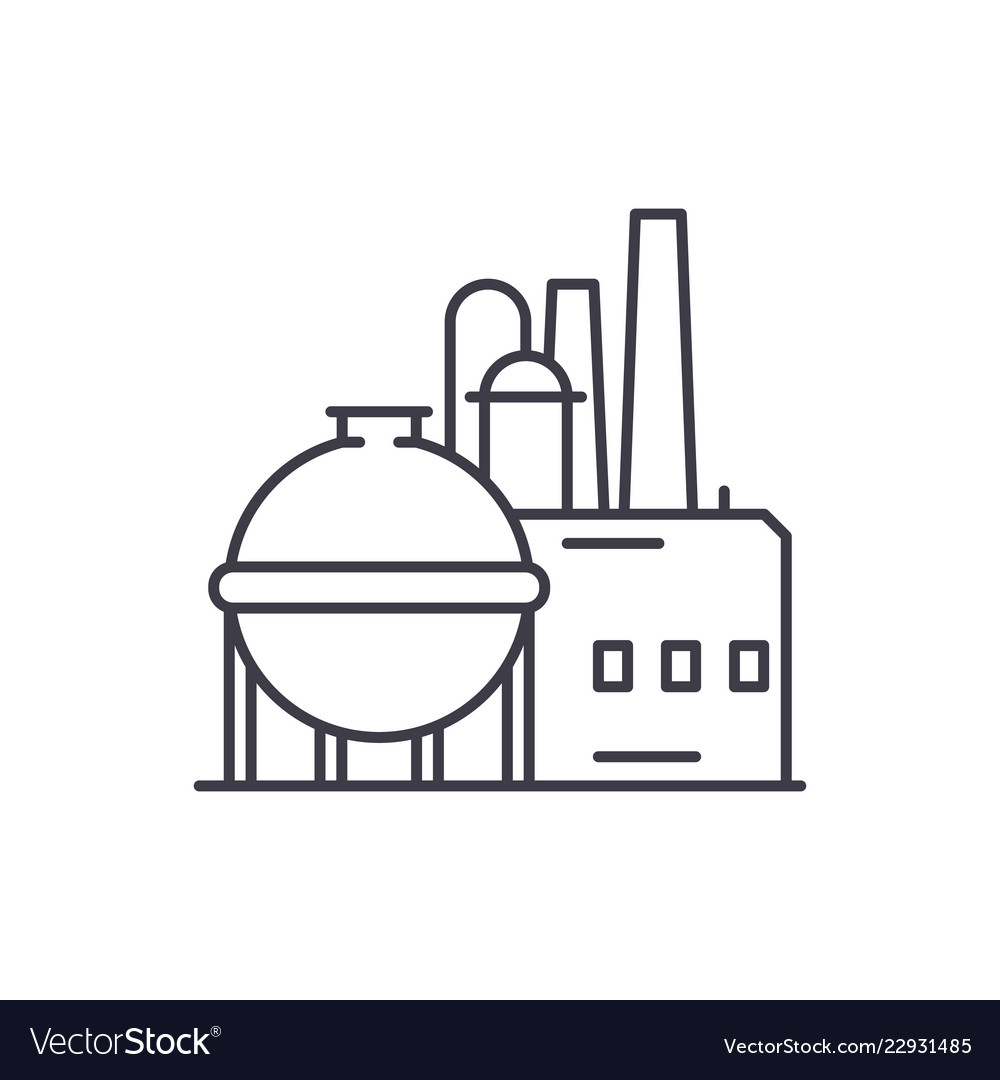 Chemical factory line icon concept chemical on
