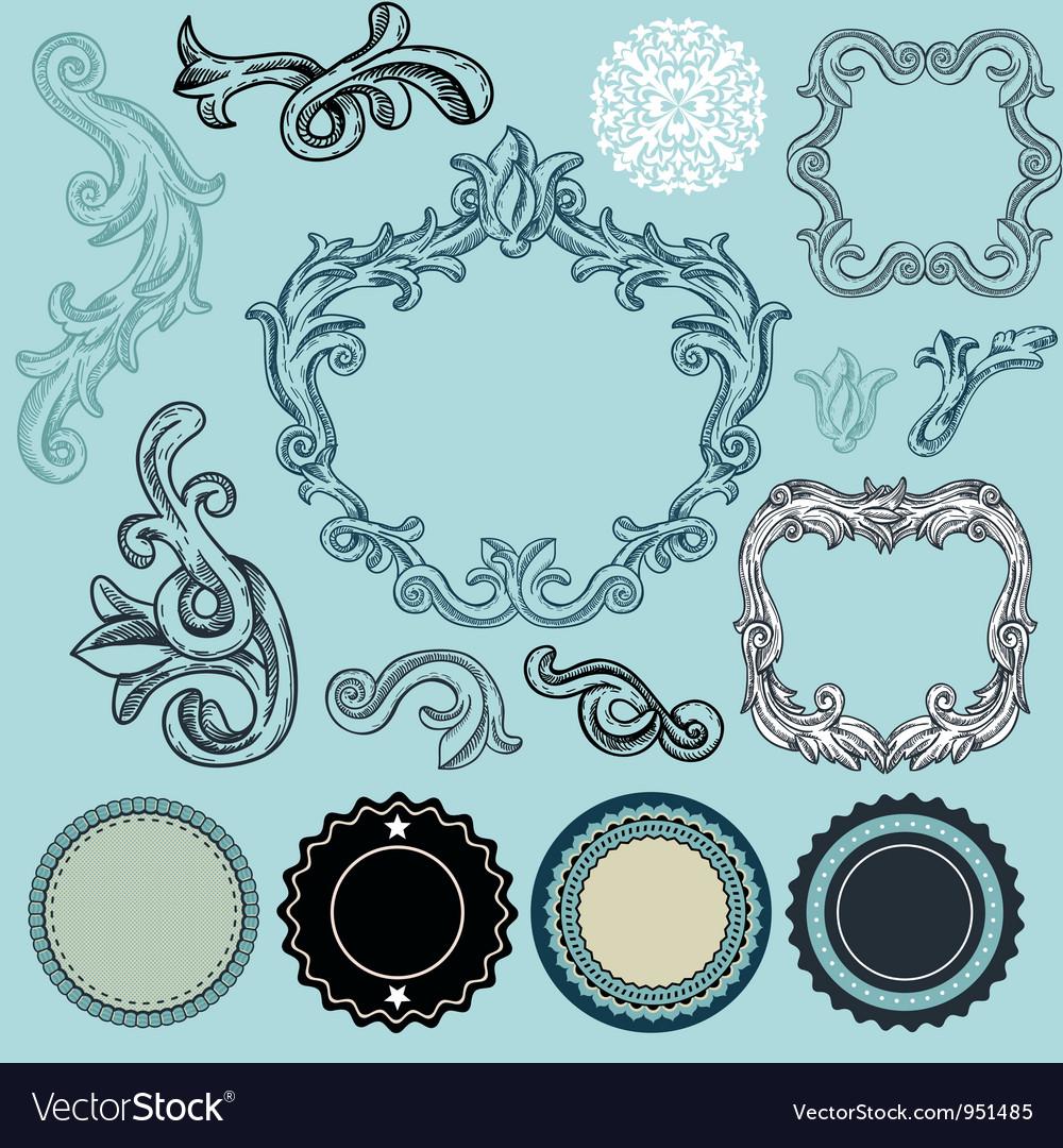 Collection of vintage design elements