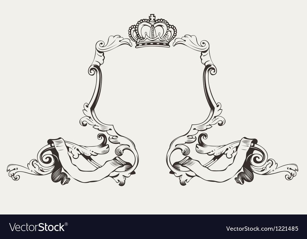 Elegant Royal Frame With Crown Royalty Free Vector Image