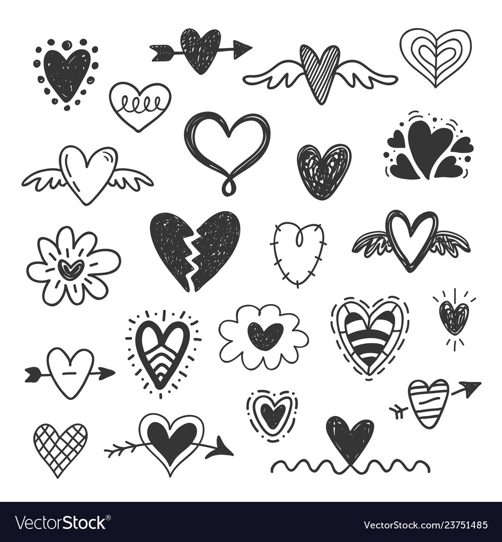 Hand Drawn Hearts Doodles Set Royalty Free Vector Image See more ideas about heart doodle, zentangle patterns, coloring pages. vectorstock