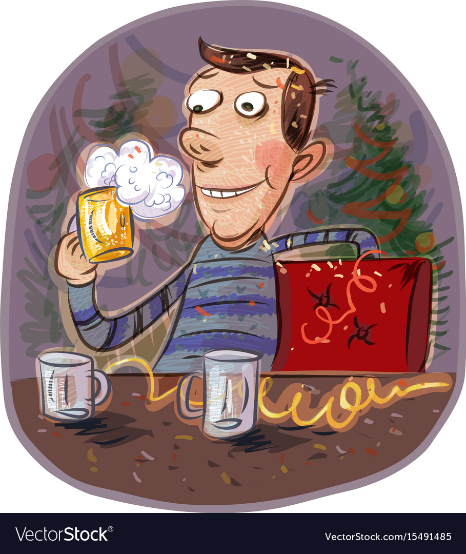 Holiday happy man holding a glass of beer