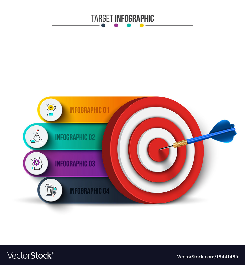 infographic template with target and dart vector image