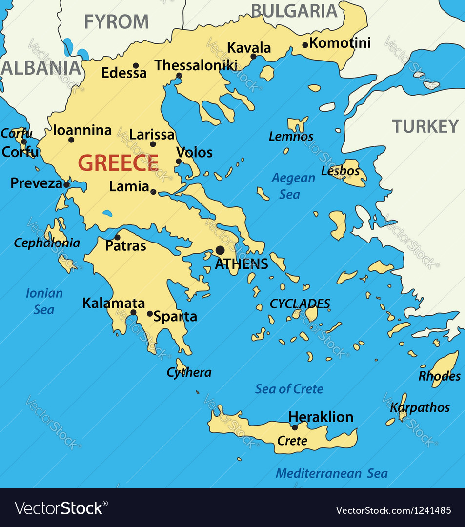 Map Of Greece Map of Greece Royalty Free Vector Image   VectorStock Map Of Greece