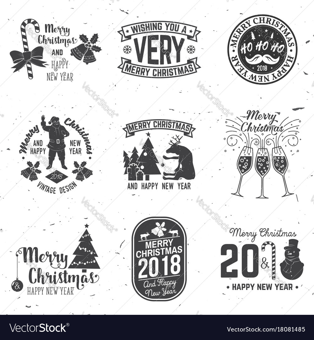 Merry christmas and happy new year 2018 retro