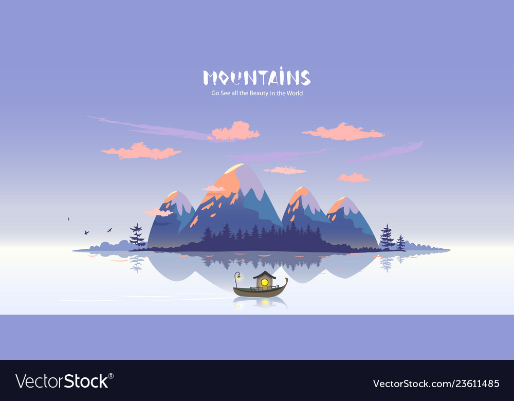 Mountains lake boat vector