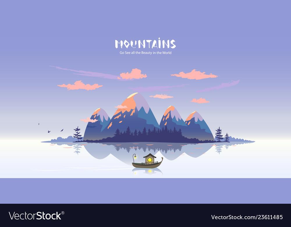 Mountains lake boat