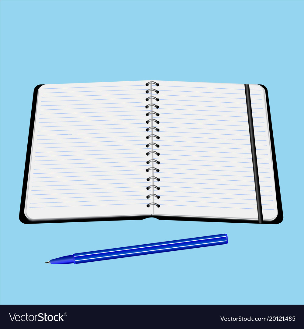 Office notebook with pen