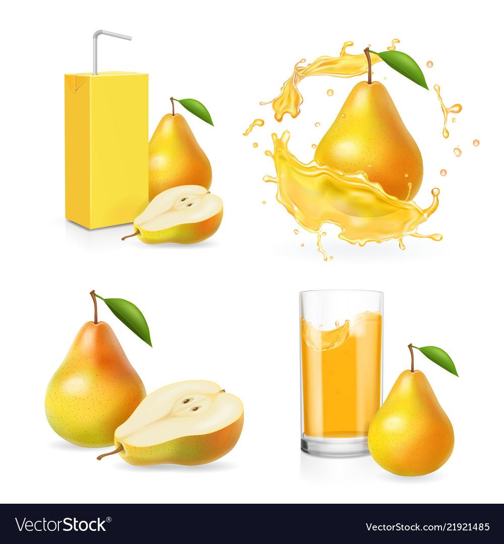 Pears juice realistic set juice splash