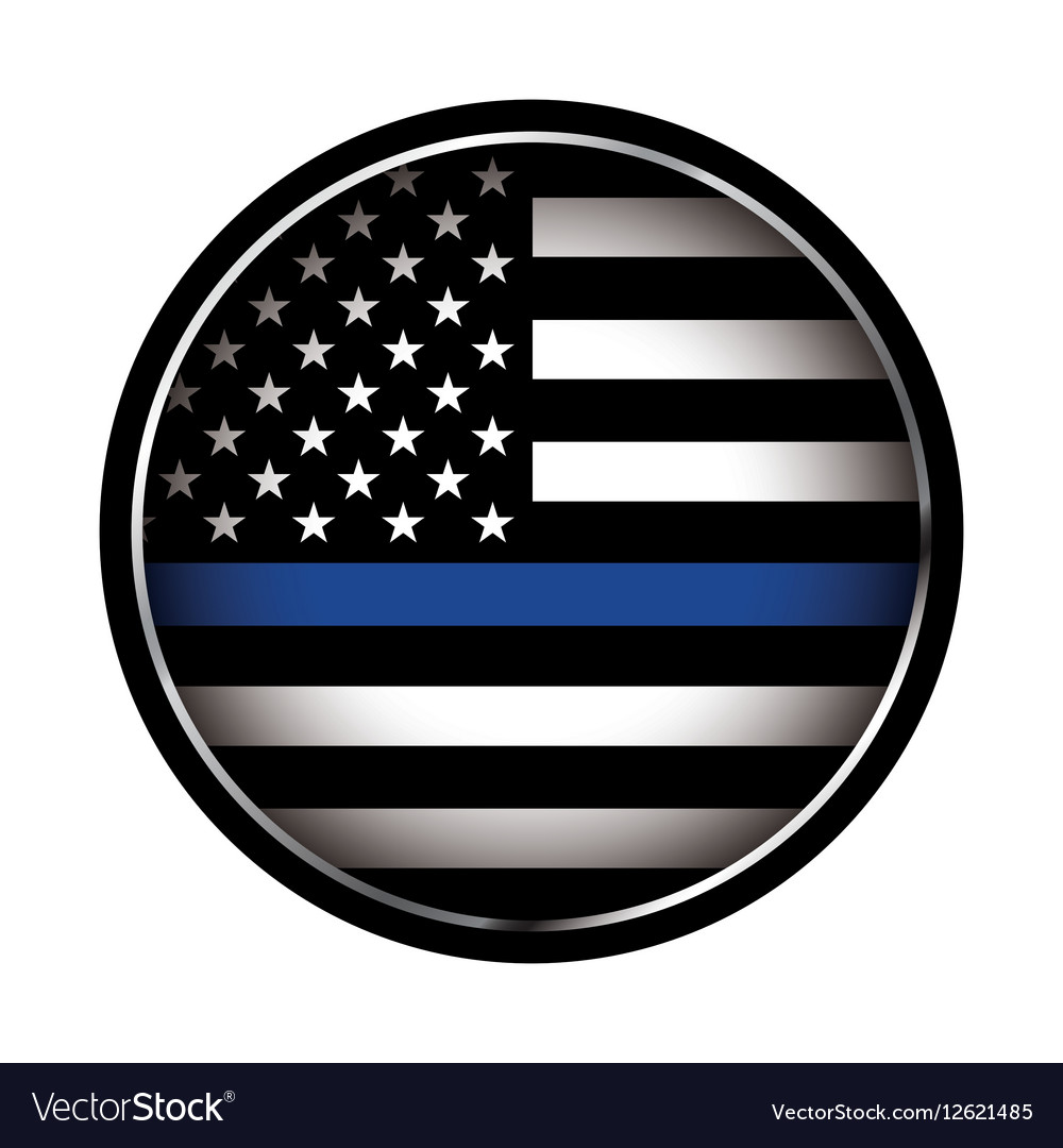 Police Lives Matter Thin Blue Line Flag Royalty Free Vector