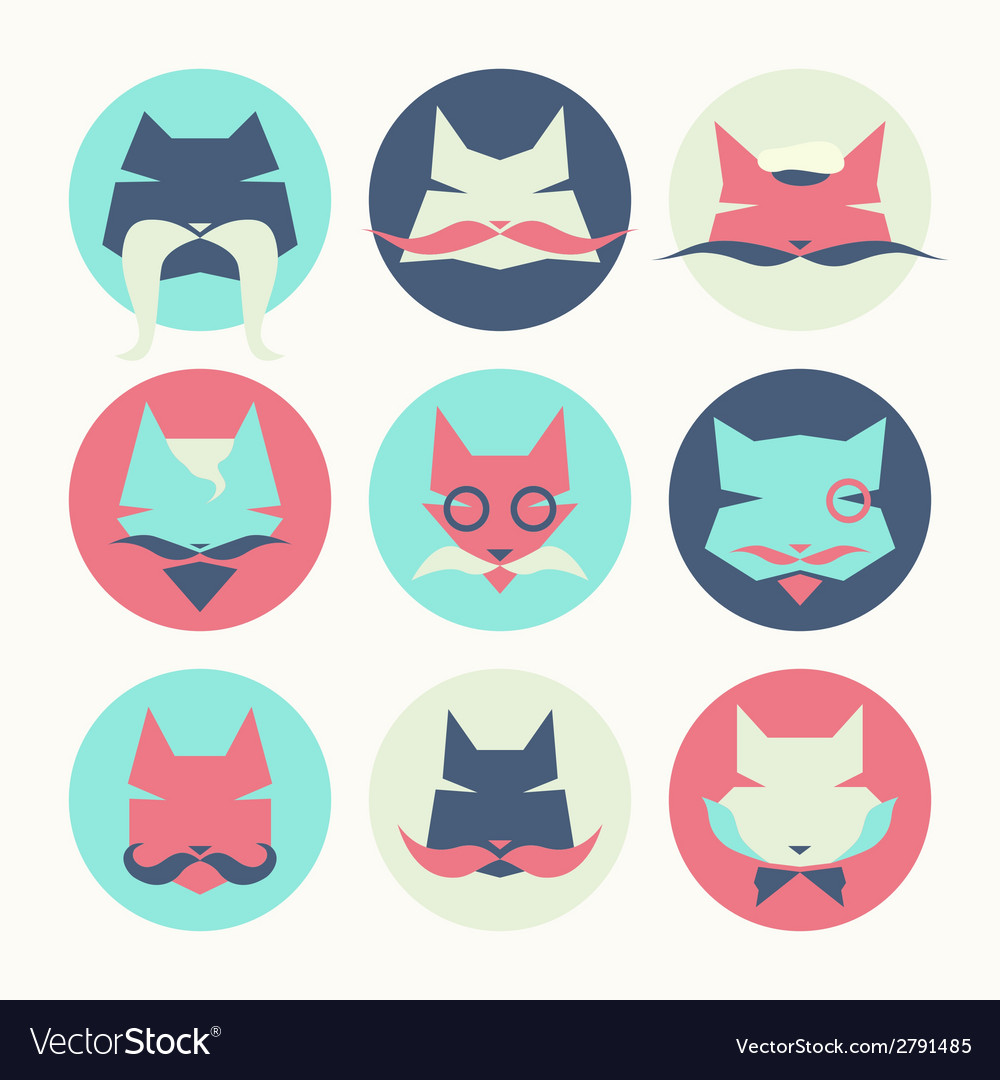 Set of stylized animal avatar bright cats vector image
