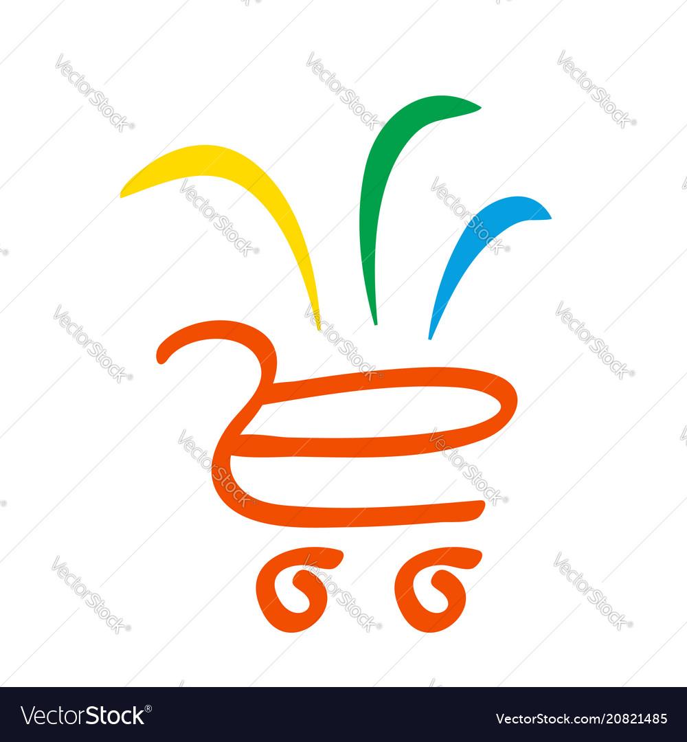 Supermarket logo store different goods in basket