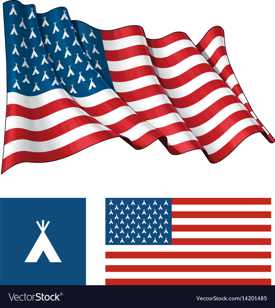 Us teepee waving and flat flag vector image
