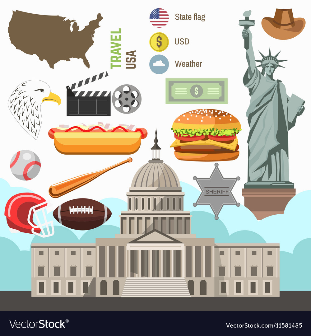 USA culture symbol set Europe Travel direction vector image