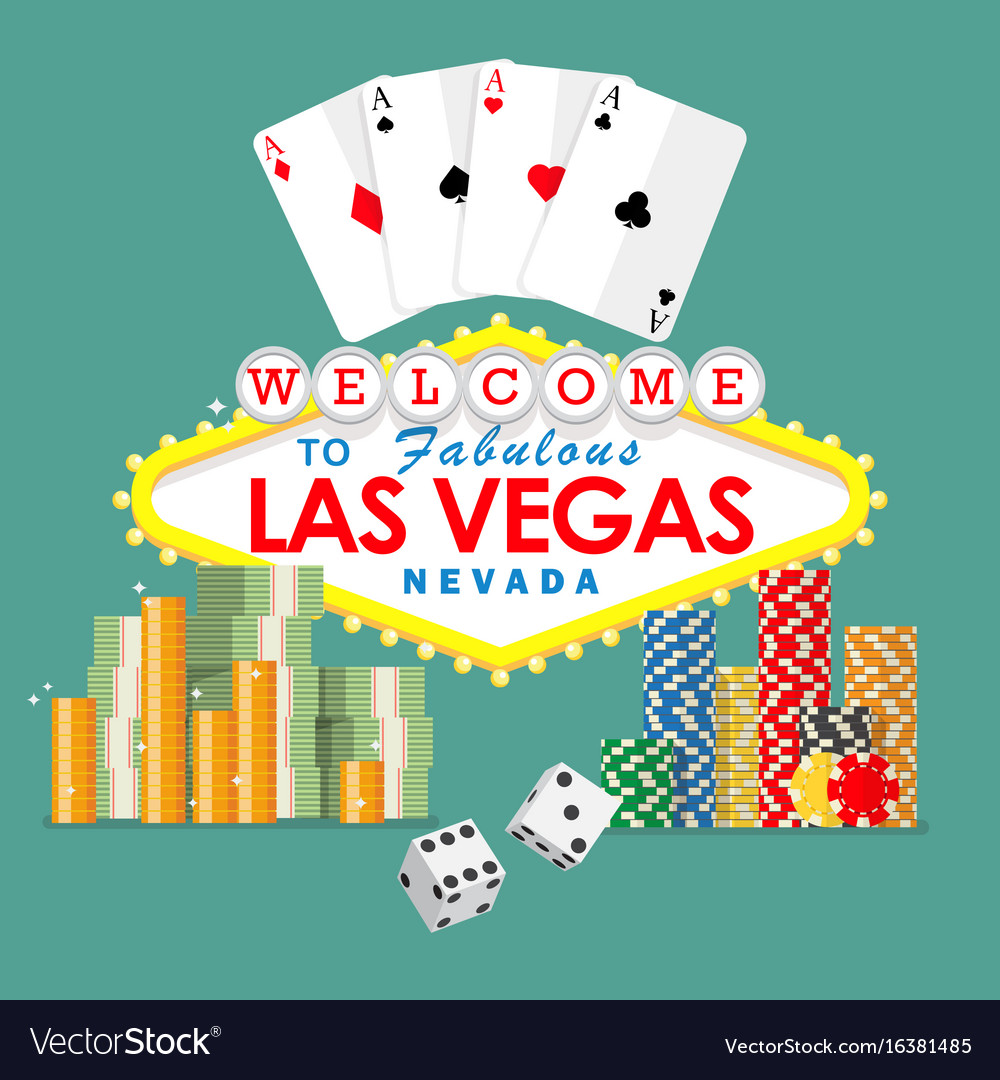 Welcome to las vegas sign with gambling elements vector image