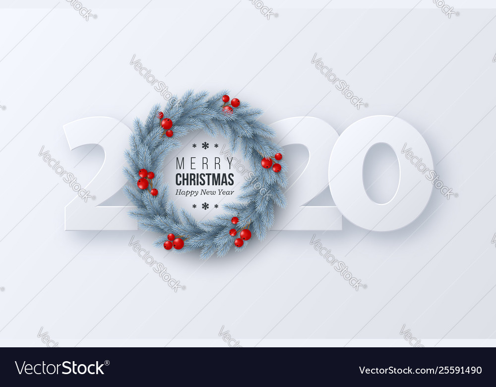 2020 new year sign with 3d fir tree wreath