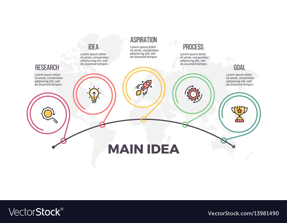 Business infographics timeline with 5 steps