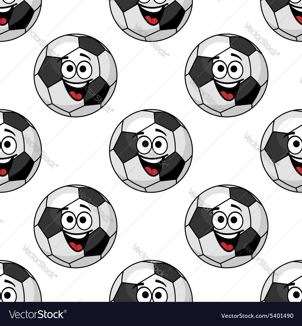 Cartoon football balls seamless pattern