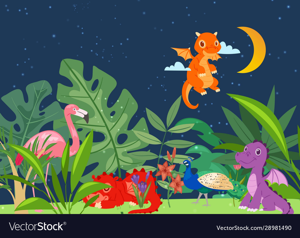 Cute dinosaurs in dino world with palm trees
